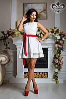 """Платье """"Барби"""" (белый+красный пояс), фото 1"""