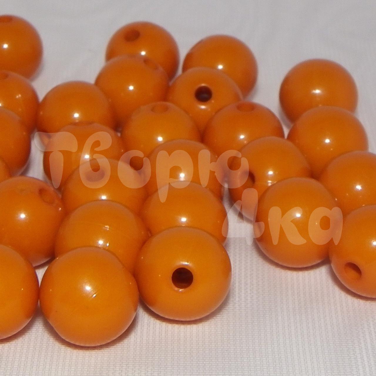 Бусина пластиковая глянцевая 10 мм оранжевая