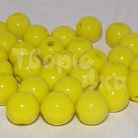 Бусина пластиковая глянцевая 10 мм желтая