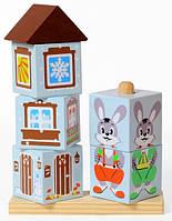 Кубики на палочке Зайка деревянные