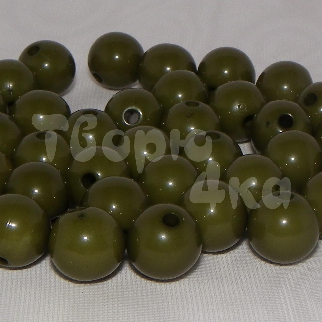 Бусина пластиковая глянцевая 10 мм оливковая