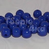 Бусина пластиковая глянцевая 10 мм синяя