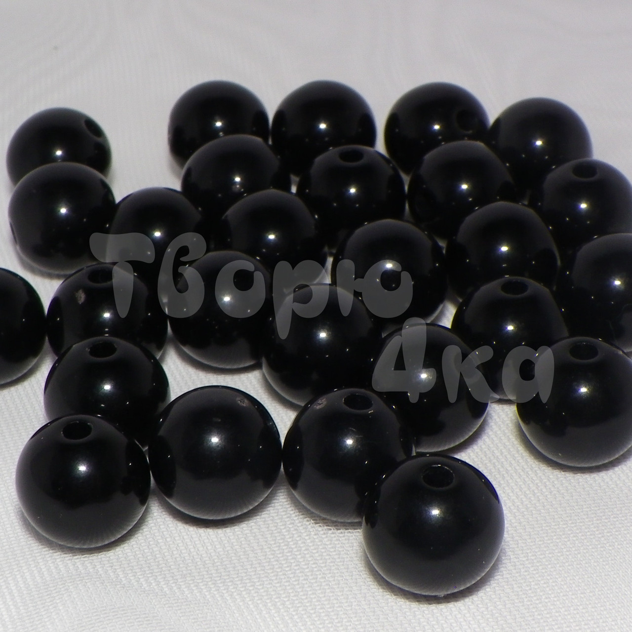 Бусина пластиковая глянцевая 10 мм черная