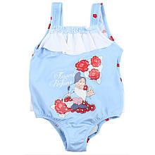 Итальянский  купальник на девочку сдельный с юбкой-рюшами и открытой спинкой с гномами и цветами.Очень милый!