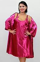 Халат и ночная сорочка комплект атласный р. 52-54, 54-56