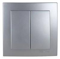Выключатель двухклавишный Nilson Touran серебро (24131003)