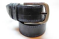 Ремень кожаный 'BlueJeans' 40 мм черный тертый с двумя синими строчками