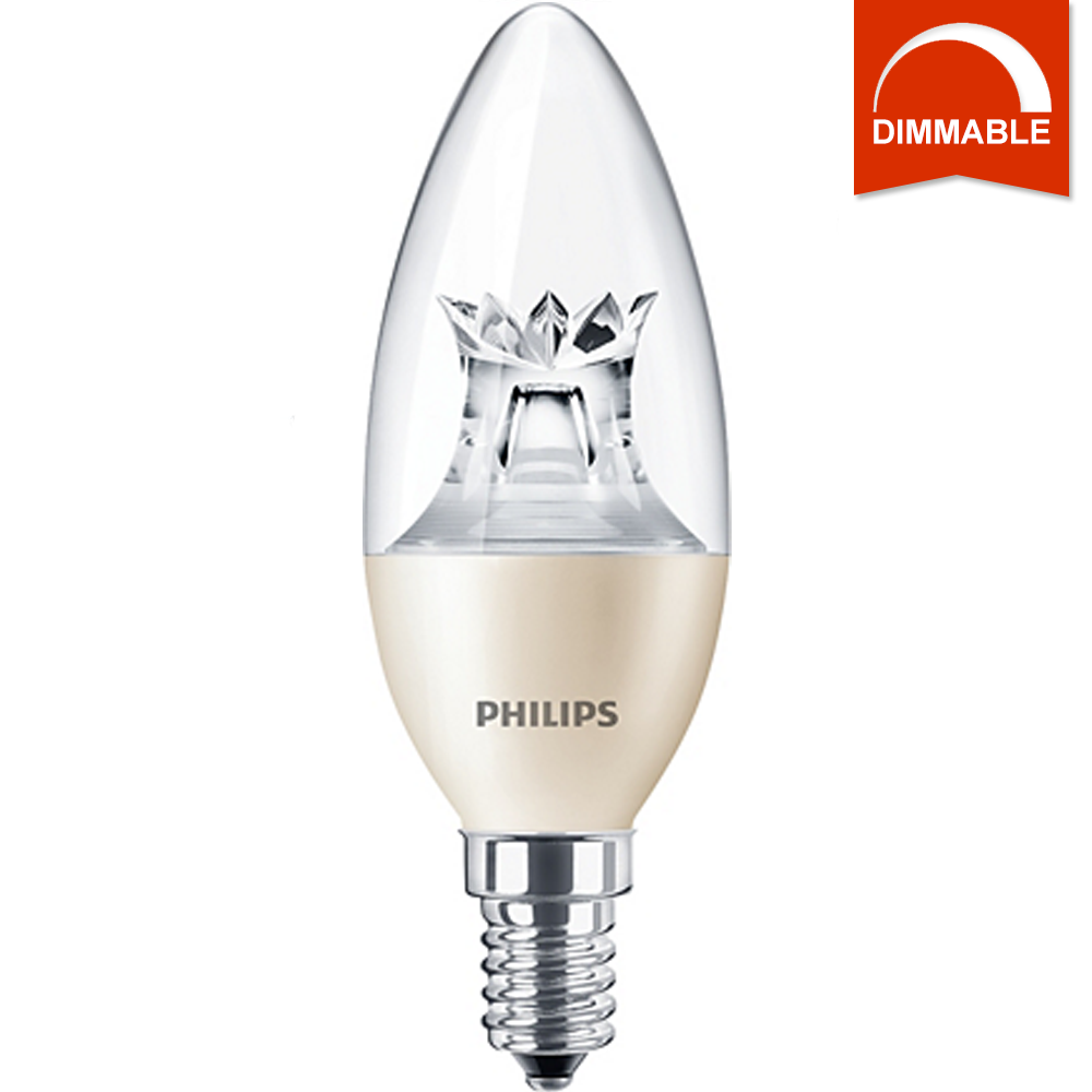 Светодиодная LED лампа Philips MAS LEDcandle DT 6-40W E14 B38 CL_AP, диммируемая