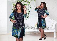 Платье женское нарядное масло со вставками однотонного шифона Размеры 50,52,54,56