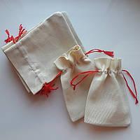 Подарочные мешочки из текстиля с красной лентой (13,5х17,5)