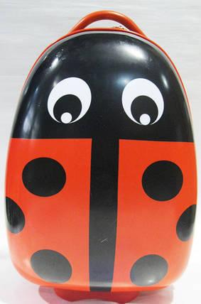"""Детский пластиковый чемодан на колесах """"Жук"""" 47*31*25,5 см, красный, фото 2"""