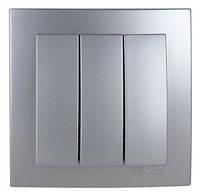 Выключатель трехклавишный Nilson Touran серебро (24131066)