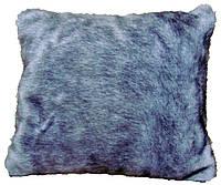 Подушка интеръерная меховая серая
