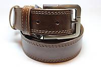 Ремень кожаный прошитый коричневый 35 мм, фото 1