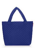 Синяя стеганая молодежная сумка