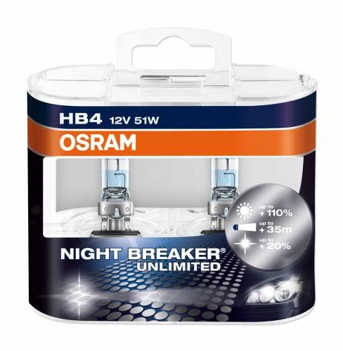 Галогенная лампа Osram Night Breaker Unlimited HB4 12V 51W (2шт.)