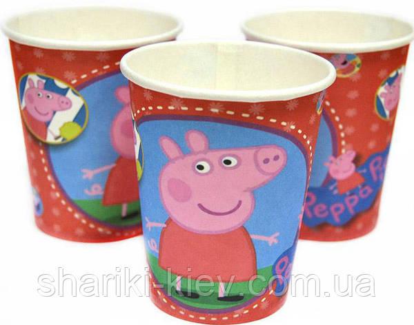 Стаканчики Свинка Пеппа 10 шт. бумажные на День рождения в стиле Свинка Пеппа, фото 2