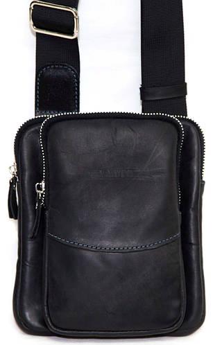 Мужская практичная сумка через плече черная из натуральной кожи VATTO MK12Кr670