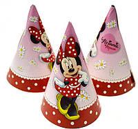 Колпаки Минни Маус 10 шт. средние бумажные на День рождения в стиле Минни Маус