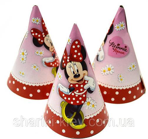 Колпаки Минни Маус 10 шт. средние бумажные на День рождения в стиле Минни Маус , фото 2