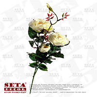 Искусственная ветка белых роз ( 3 цветка на ветке)