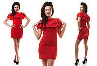 Платье женское короткое стрейчевое с оборками P1251, фото 1