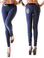 Леггинсы женские с кожаными вставками - Синий