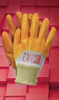 Защитные перчатки, покрытые желтым нитрилом, с мягким манжетом RNITZ