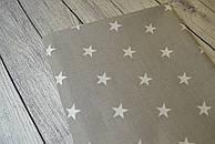 Лоскут ткани №8 с белыми звёздами на сером  фоне
