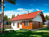 МS-019. Классический одноэтажный дом с комбинированной облицовкой, фото 1