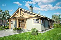 MS-020. Современный одноэтажный дом с двускатной кровлей, фото 1