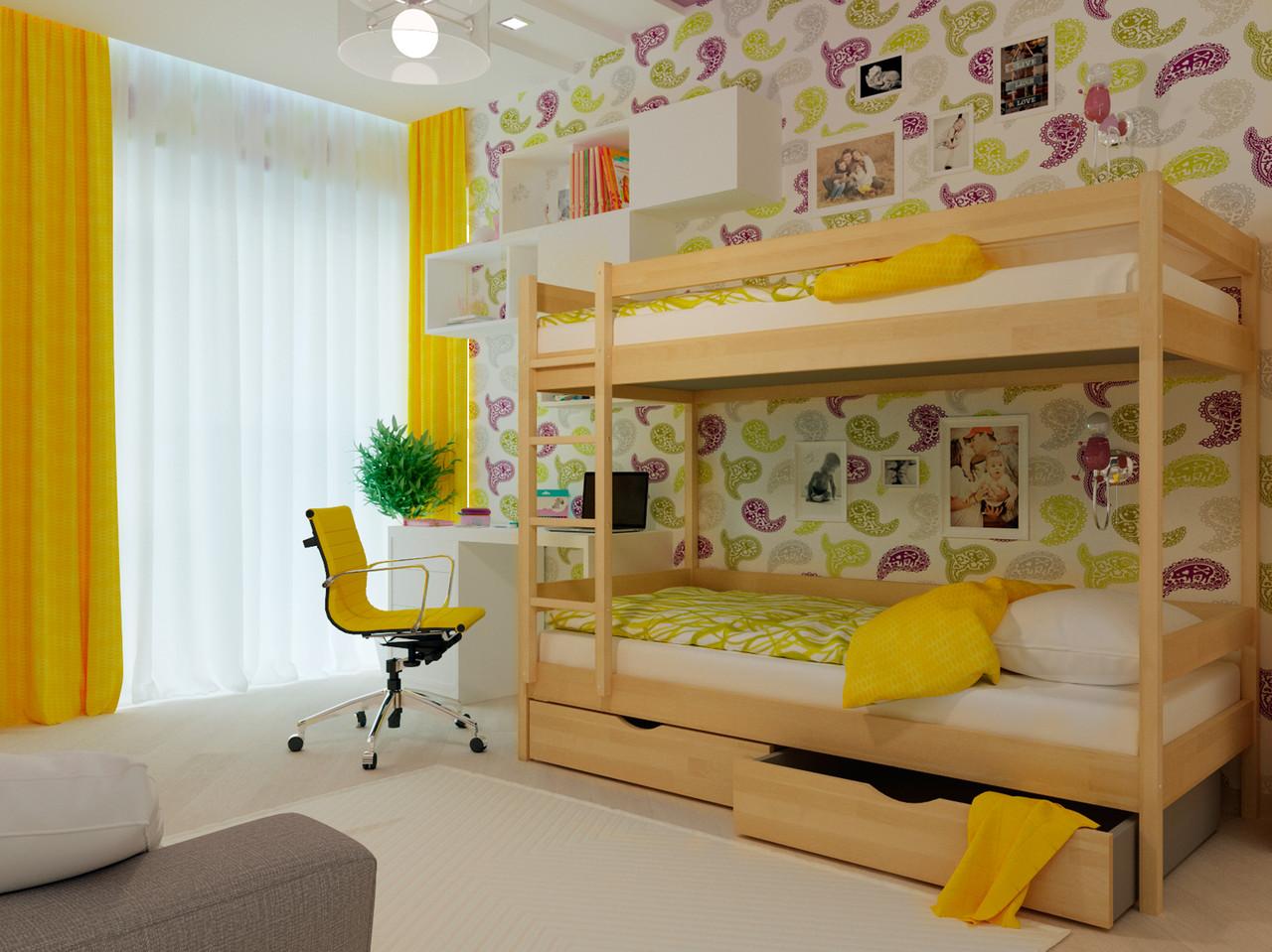 Ліжко двоярусне в дитячу кімнату з дерева Твікс (бук) 80*190 Неомеблі