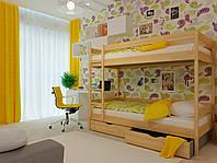 Ліжко двоярусне в дитячу кімнату з дерева Твікс (бук) 80*190 Неомеблі, фото 1