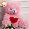 Плюшевый мишка Томми с сердцем, 70 см, розовый, фото 2