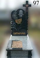 Пам'ятник чорне серце з тюльпанами