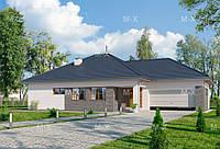 MS-022. Вместительный одноэтажный дом с гаражом на две машины, фото 1