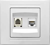 Розетка компьют+телефон белая,Gunsan серия MODERNA