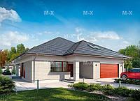 МS-023. Стильный одноэтажный дом с мансардой в облицовочном кирпиче, фото 1