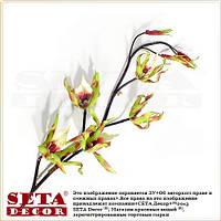 Орхидея тигровая зелёная искусственная ветка