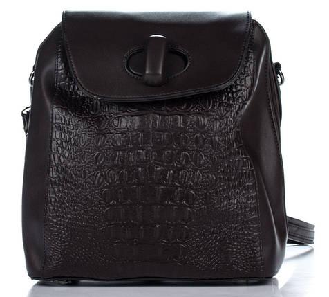 Эксклюзивный женский рюкзак под рептилию шоколадного цвета, фото 2
