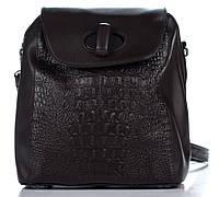 Эксклюзивный женский рюкзак под рептилию шоколадного цвета