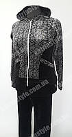 Женский велюровый спортивный костюм с капюшоном черного цвета