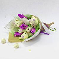 Букет из игрушек Мишки 3 с тюльпанами Крафт, фото 1