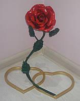 Кованная роза с сердцами, высота 41 см