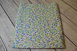 Лоскут ткани с изображением мелких синих и голубых цветочков№130 размером 24*80 см, фото 2