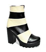 Женские зимние ботинки на тракторной подошве, натуральная кожа, бежево-черные, фото 1