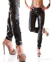 Женские черные лосины с кружевом