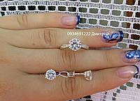 Серьги-гвоздики и кольцо с цирконием серебро 925