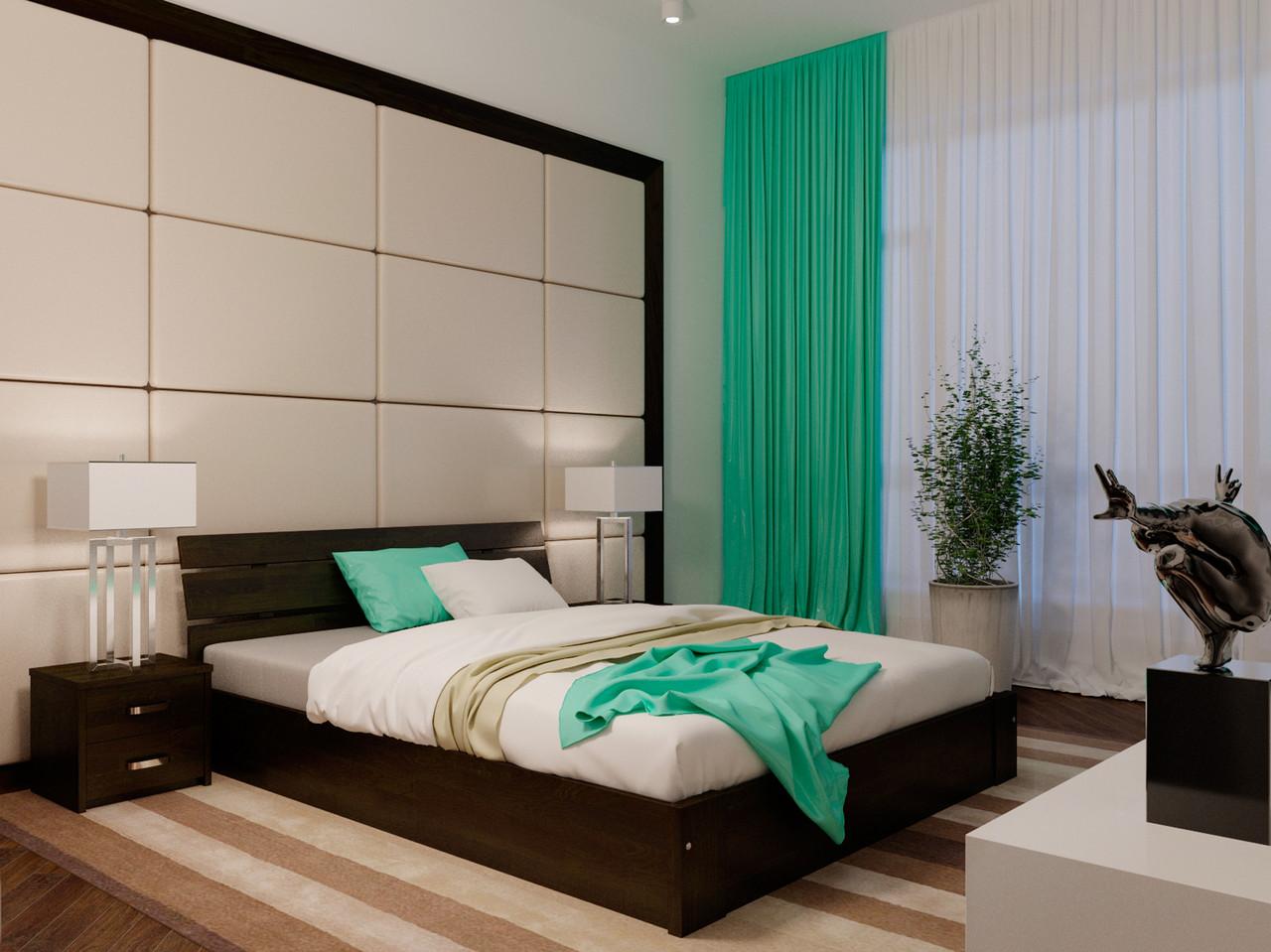 Ліжко з підйомним механізмом з дерева в спальню Лагуна з ПМ 90*200 (Бук)Неомеблі