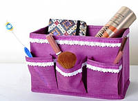 Корзинка коробка для мелочей с кармашками розовая